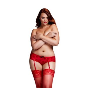 Baci - Red Rose Open Crotch Boyshort Panty Queen Size 1/4