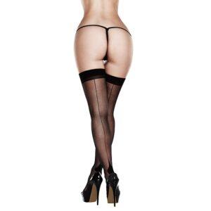 Baci - Sheer Cuban Heel Thigh Highs Queen Size 1/1