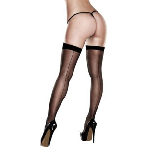 Baci - Sheer Thigh Highs With Backseam With Banded Silicone Stay-Up Queen S 1/1