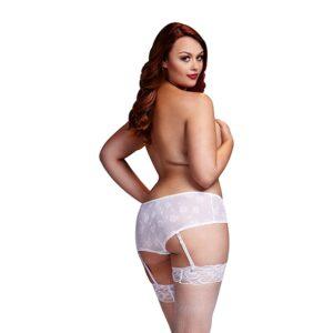 Baci - White Rose Open Crotch Boyshort Panty XL 1/4